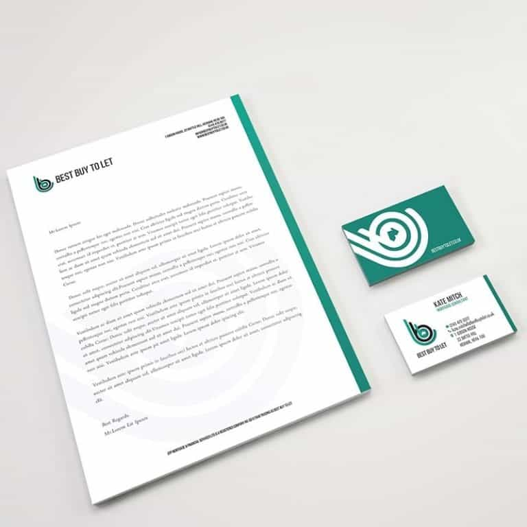 Letterhead and business card graphic design as part of full brand concept