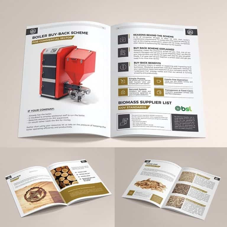 A4, 12 pages brochure advertising company's services