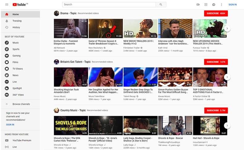 YouTube 2019